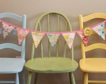 Bunting Vintage Sheet Fabric Garland ... Banner Photo Prop Nursery Wedding Decor Party Decoration Flag Fabric