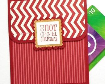 Christmas Gift Card Holder - Christmas Money Cards - Christmas Tip Envelope - Do Not Open til Christmas Card in Red and Gold Glitter