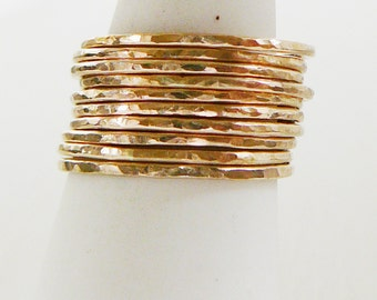14 kt Gold Filled Ring, Set of 5 Hammered stacking skinnies thin skinny stacker ring midi knuckle ring