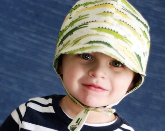 UB2 CROC an adorably snap-happy alligator green baby BOY sun hat in a lovely newsboy hat shape by The Urban Baby Bonnet (all sizes)