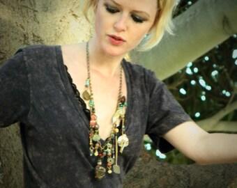 Multi Stone Necklace // Gypsy Jewelry // Petrified Wood // Natural Stone Necklace // Bohemian Jewelry // Statement Necklace