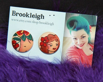 """Fabric covered earrings, 23mm (7/8""""), Retro/ Vintage /Rockabilly inspired. ALEXANDER HENRY Tattoo pinup flower design"""