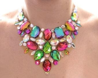 Iridescent Rhinestone Statement Necklace, Rainbow Bib Necklace, Chunky Statement Necklace, Colorful Bib Necklace, Chunky Bib Necklace