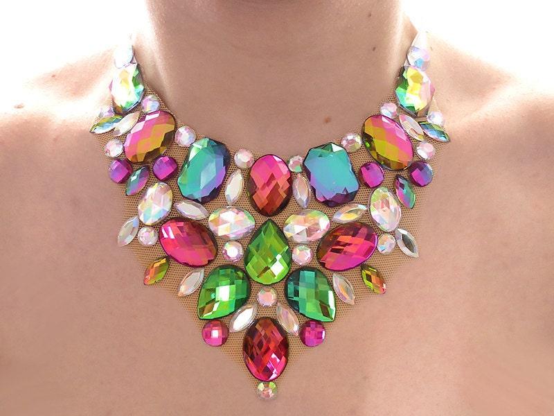 iridescent rhinestone statement necklace by sparklebeastdesign