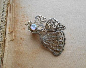 bird filigree brooch with aurora borealis rhinestone - vintage rhinestone costume jewelry