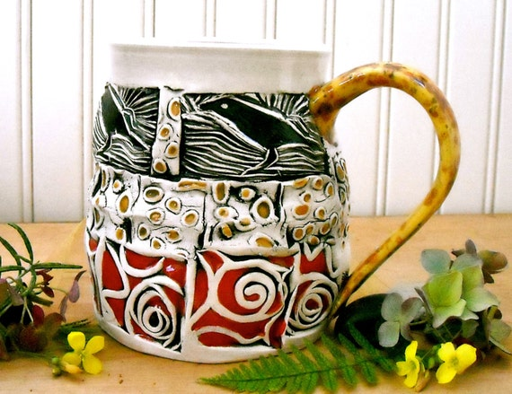 Tribal Raven Large Coffee Mug - HandMade Crow Tribe Stamped Linocut Native Bird Fine Art Tea Cup - Rustic Red, Honey Gold, Black, White Crow