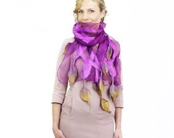 scarf, Felted scarf,  felt, wrap, silk, wool, purple, mustard, women, gift, accesories, art, leaves