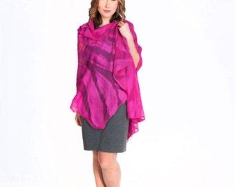 scarf, Felted scarf,  felt, wrap, silk, wool, pink, large, women, gift, accesories, art,