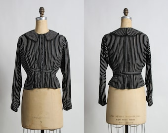 SALE- Antique Pin Stripe Blouse . 1910s Shirt