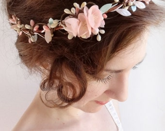 bridal hair piece, blush wedding, pink hair accessories, mint wedding, bridal headpiece, wedding flower crown, bridal hair vine, circlet