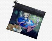 Jasmine Becket-Griffith Alice, Cheshire Cat & White Rabbit makeup bag wristlet, travel bag,