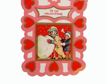 Vintage art deco Valentine - Children in the snow - 1930s to 1940s