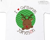 Christmas shirt red nosed reindeer personalized Christmas Tshirt - perfect for the holidays