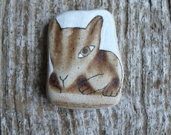 Beach Pottery Cat - Striped - Totem, Animal Medicine, Spirit Animal, Brave, Bold, Wild, Courageous, Healing