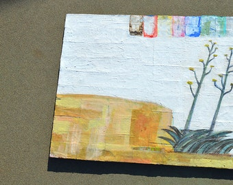 Abstract Landscape, Desert Landscape Painting, Agave Painting, Arizona Desert, Collage, Cactus Painting, Cactus Drawing, Cactus Art