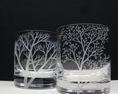 2 Double Old Fashioned Hand Engraved 'Branches and Leaves' and 'Reaching Branches' Crystal Glass Bar Ware