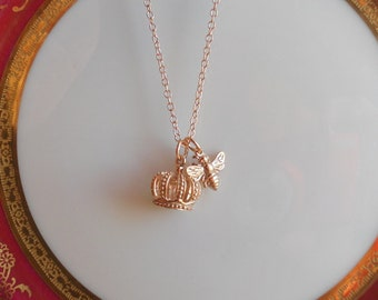 Rose Gold Bumble Bee Necklace - Rose Gold Bee Necklace, Queen Bee Necklace, Rose Gold Crown Necklace,  Gold Bee Necklace, Sterling Bee, Gift