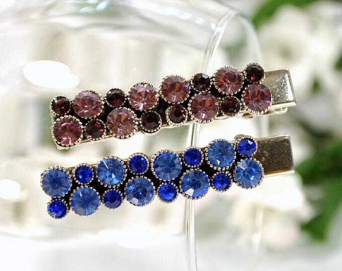 Blue Hair Clip Crystal Hair Clip Blue Alligator Clip Small Barrette Blue Hair Pin
