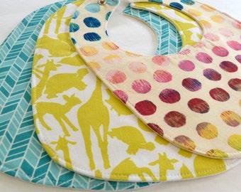 Set of 3 Eco - Organic Baby Bibs . Eco-Organic . Aqua Herringbone, Zoology & Rainbow Dot . Baby Shower Gift Set