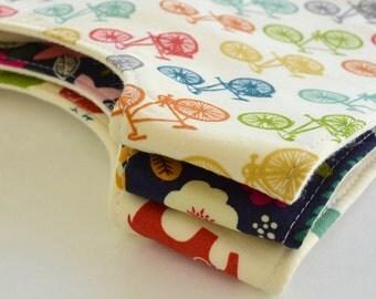 Baby Shower Gift . Set of 3 Baby Bibs . CHOOSE YOUR FABRICS . Eco-Organic Bibs