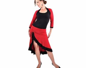 Eco-Friendly Bamboo Milonga Skirt - Red Black Polka Dot - belly dance, tango