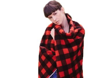 Wool Blanket- Soft Wool Throw in Black and Red Buffalo Plaid, Throw Blanket, Gift for Guys, Unisex