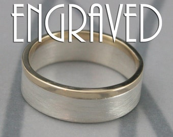 Modern Two Tone Wedding Band--Custom Inside Engraving - Solid 14K Yellow Gold and Sterling Silver--Brushed and Polished--Men's Wedding Ring