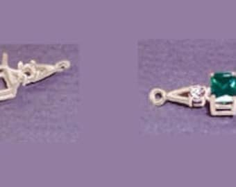 Sterling Silver ~ 7x5mm 8x6mm or  10x8mm Emerald  ~ 3mm round Accented ~ Bracelet links settings / Mountings ~ to be ordered ~ #167821 ~ FDK
