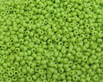 6/0 (1.5mm Hole) Matte Opaque Chartreuse MIYUKI Glass Seed Beads 20 Grams (6JDS55)