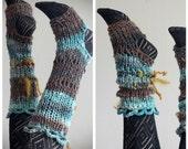 Yoga socks: mid calf // handknit handspun fantasy faerie boho legwarmers armwarmers