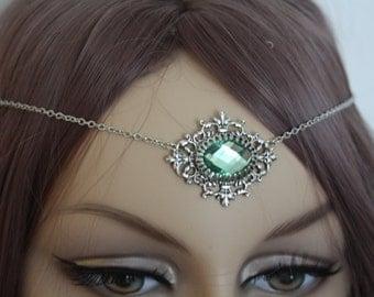 Elven Headdress Elven Circlet Elven Headjewel Green Mint Absinthe Silver Circlet Victorian Gothic Fairy Necklace