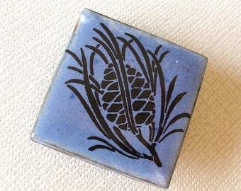 Pine Cone Brooch. Cornflower Blue Glaze on Black Porcelain Square. Indigo. Denim. Sapphire. Woodland. Evergreen. Up North. Boreal. Nature.