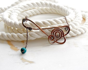 Hand Forged Metalwork Necklace, Copper Wire Jewelry, Boho Necklace, Spiral Jewellery, Asymmetric Necklace with Blue Green Dangle