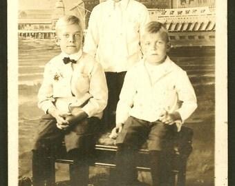 Venice Beach and Ship Hotel Cabrillo Backdrop / 3 Boys / 1918 Arcade Photo RPPC