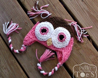 Pink Owl Baby Hat, Crochet Baby Girl Owl Hat, Newborn Baby Girl Hat, Owl Baby Shower Gift
