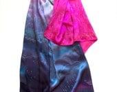 Purple Raindrops Silk Shawl Hand Painted Scarf Shawl Neon Pink Scarf Fuchsia satin scarf handpainted Large Luxurious shawl Holidays Gift Mom