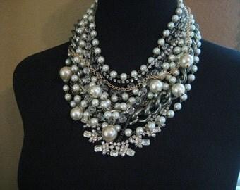 Rhinestone Chunky Pearl Necklace Wedding Necklace Statement Creamy White Champagne Pearl Wedding Jewelry Vintage Wedding (Binns Inspired)