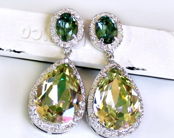 Luminous Green Teardrops and Emerald Green Oval Crystals Surrounded with Halo CZs on Silver Cubic Zirconia Post Earrings