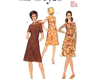 Vintage Dress Pattern Style 3068 Sleeveless Dress Short or Long Sleeve Dress Womens Sewing Pattern Bust 40 UNCUT