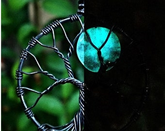 Glow in The Dark Blue Moon Tree of Life Pendant - Oxidized Copper and Glass