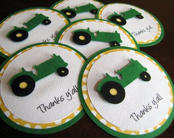 Tractor Party Favor Tags, Tractor Party Tags, Tractor Party Favor,  Tractor Birthday Party Favor Tags, Farm Party Favor Tags, Set of 12