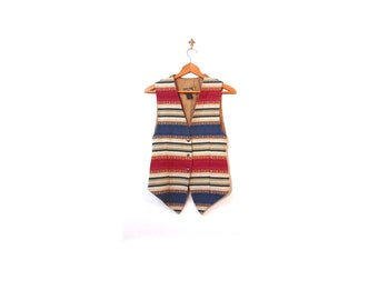 Vintage 90s Southwestern Woven Cotton Tapestry Striped Button Up Vest women xs s indie hipster tribal country western vestiesteam boho