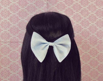 Summerlicious Blue Gingham Hair Bow - Checkered Hair Bow Barrette, Wizard of Oz, Gingham Print Big Hair Bow for Teen Girls