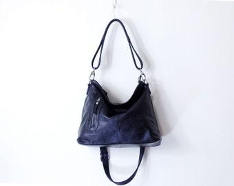 Black leather bag, women bag cross body bag tote bag everyday bag