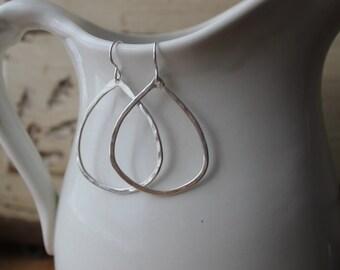 fine silver earrings, minimalist jewelry, organic large drop dangle earrings, holiday gift idea, gift for her, geometric shape earrings