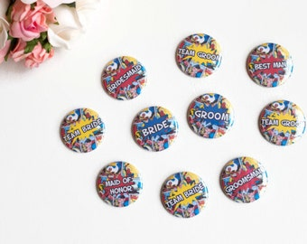 Geek Wedding Pins, Bridal Party Buttons, Nerd Groom, Geeky Bridesmaid, Superhero Bride, Comic Book Theme, Sci Fi Badges, Engagement party