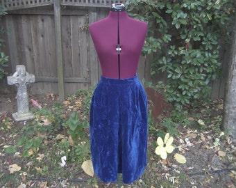 Crushed Velvet Skirt Velvet Skirt Blue Velvet Skirt Midi Skirt Cobalt Blue Velvet Skirt Crushed Velvet 1970s Vintage Jones New York Size 12