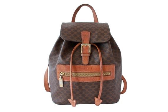 CELINE Authentic Vintage Backpack Tan Brown Monogram Bag by COTIVE