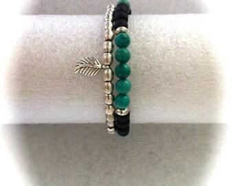 Southwestern Turquoise & Black Bracelet, Silver Stacking Set, Boho Jewelry, Stretch Bracelets, Beaded Teen Bracelets Unisex Bohemian Jewelry