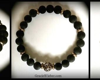 Mens Onyx Bracelet, Viking Goth Bronze Filigree, Stretch Boho Yoga Bracelet Bohemian Bridal Black Bracelet Groomsmen Gift